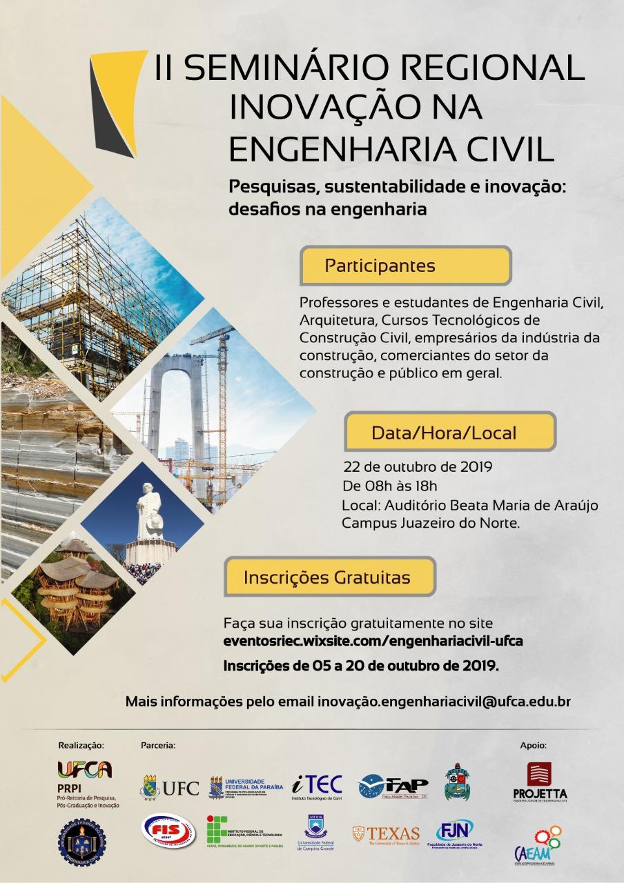 Cartaz do II Seminário Regional de Inovação na Engenharia Civil